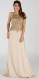 Poly USA 7470 Glamorous Column Dress Champagne Long Embroidered Top