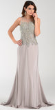 Poly USA 7470 Glamorous Column Dress Silver Long Embroidered Top