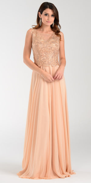 Poly USA 7472 Lace Applique Top Long Chiffon Prom Dress Champagne