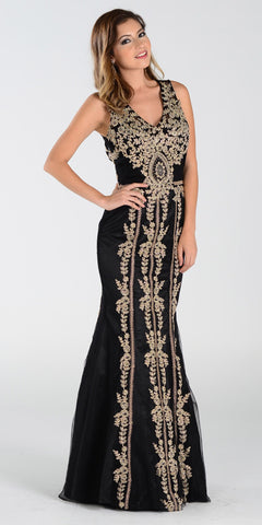 Poly USA 7480 Lace Appliques Rhinestones Prom Dress Black Gold Long