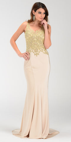 ON SPECIAL LIMITED STOCK - Poly USA 7484 Long Train Prom Gown Champagne Scoop Neck Embroidery