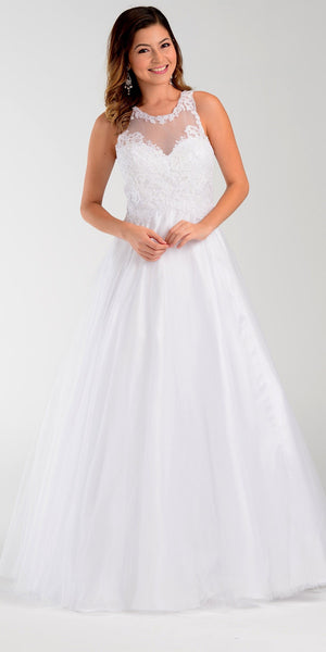 Poly USA 7490 White Cotillion A Line Dress Lace Applique Top