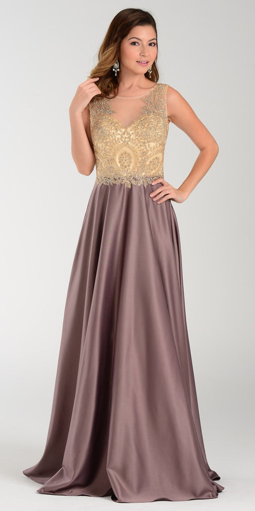 Poly USA 7494 Long Satin A Line Prom Gown Mocha Lace Applique