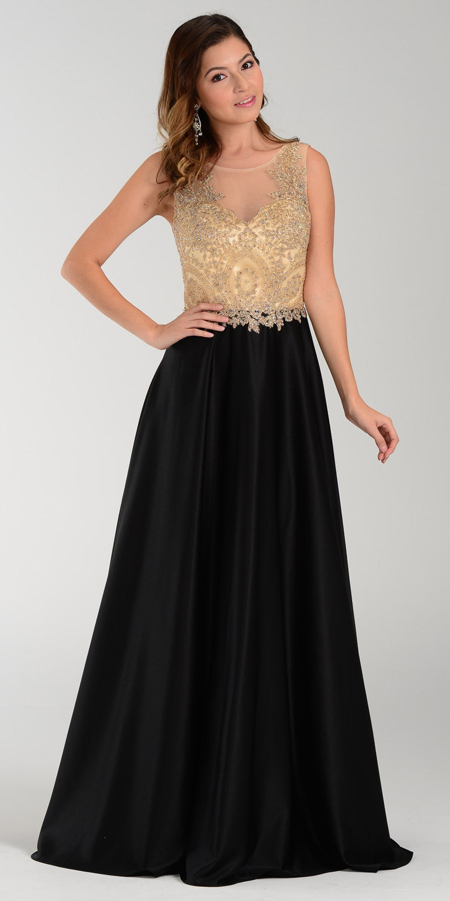 Poly USA 7494 Long Satin A Line Prom Gown Black Lace Applique