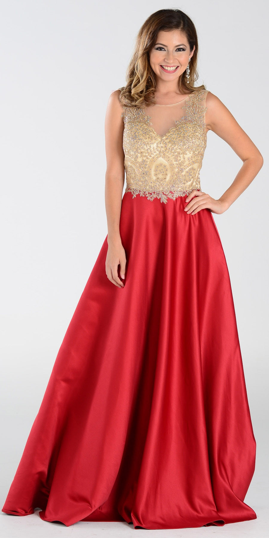 Poly USA 7494 Long Satin A Line Prom Gown Burgundy Lace Applique
