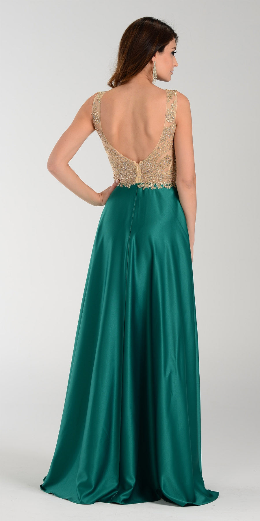 Poly USA 7494 Long Satin A Line Prom Gown Mocha Lace Applique ...