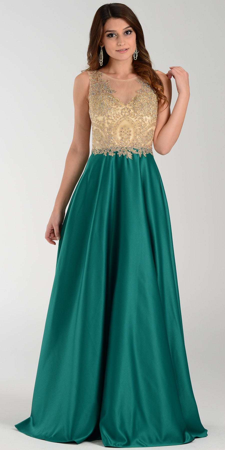 Poly Usa 7494 Long Satin A Line Prom Gown Emerald Green Lace