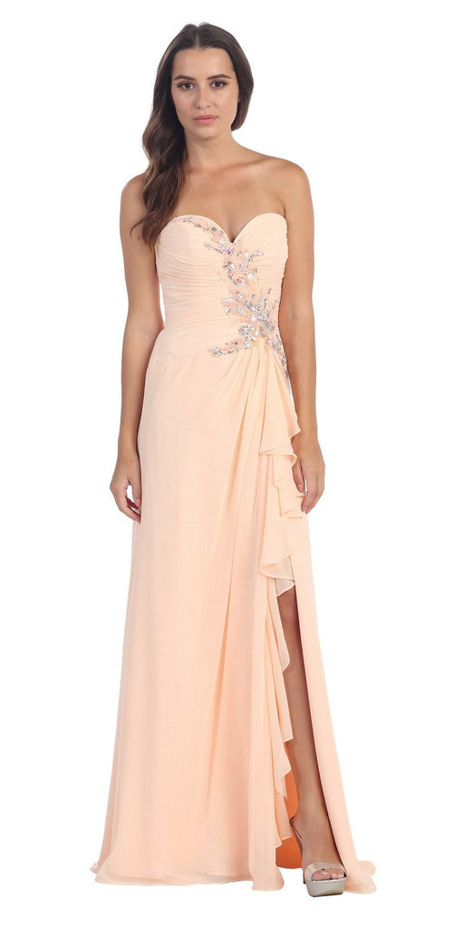 Starbox USA 608-1 Prom Gown Chiffon Peach Front Slit Strapless Floor Length