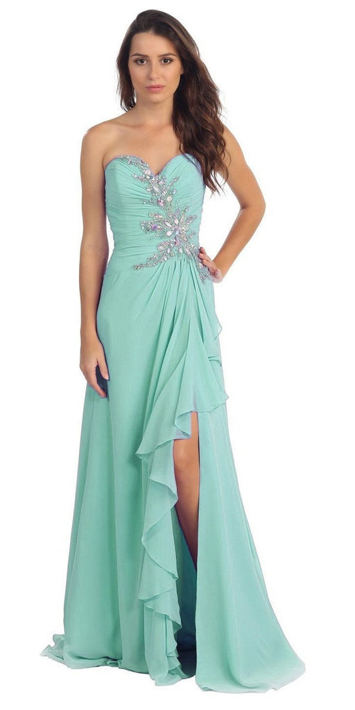 Starbox USA 608-1 Prom Gown Chiffon Mint Front Slit Strapless Floor Length