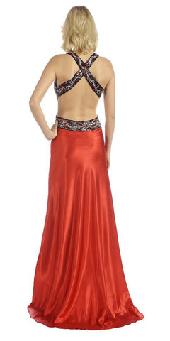 ON SPECIAL LIMITED STOCK - Red/Black Prom Dress Long Back Open Side Cuts Beads Sequin Waist Gown