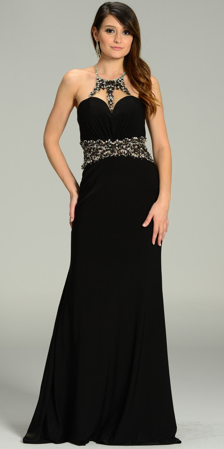 ON SPECIAL LIMITED STOCK - Rhinestone Halter Neck ITY Formal Black Dress Floor Length