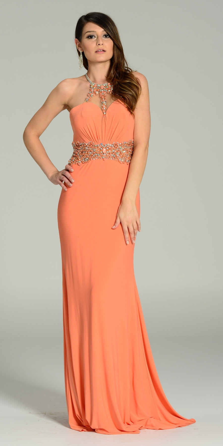 ON SPECIAL LIMITED STOCK - Rhinestone Halter Neck ITY Formal Coral Dress Floor Length