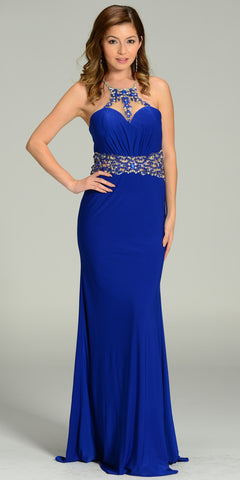 ON SPECIAL LIMITED STOCK - Rhinestone Halter Neck ITY Formal Royal Blue Dress Floor Length