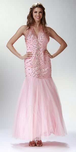ON SPECIAL LIMITED STOCK - Rhinestone Studded Long Peach Trumpet Prom Dress