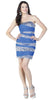 ON SPECIAL LIMITED STOCK - Ruched Stripe Light Royal Blue  Fitted Dress Curvy Chiffon