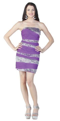 ON SPECIAL LIMITED STOCK - Ruched  Sequin Stripe Sexy Purple  Short Fitted Dress Curvy Chiffon