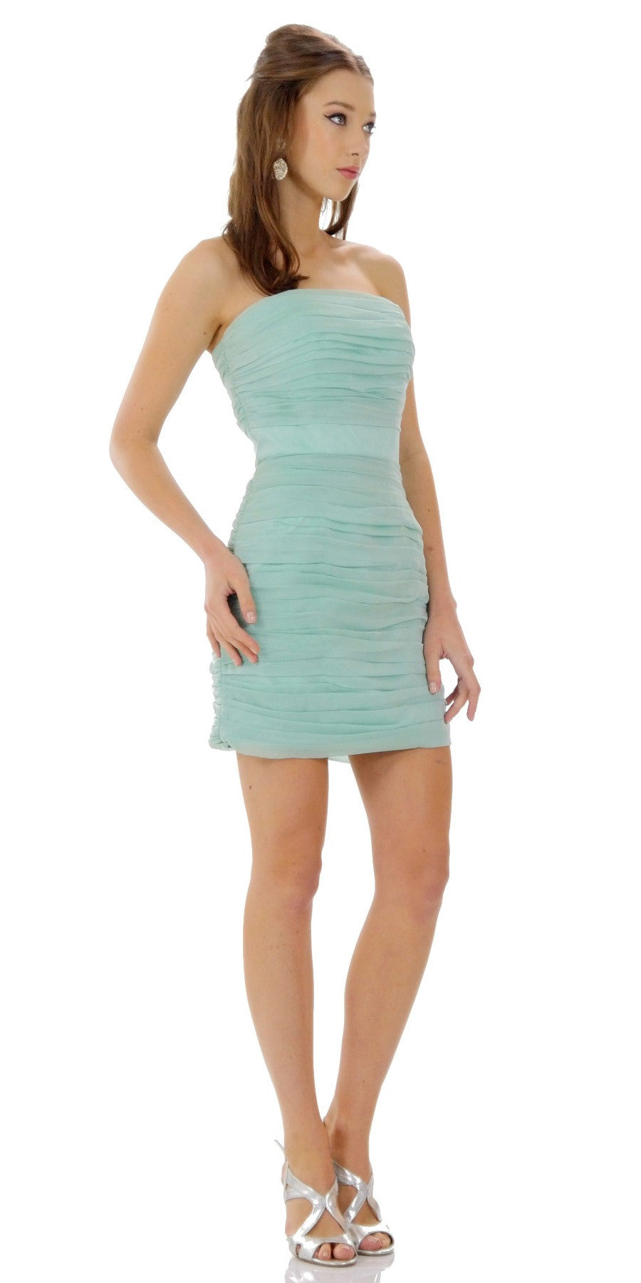 7b014e21141 ON SPECIAL LIMITED STOCK - Ruched Strapless Straight Neckline White Bodycon  Dress