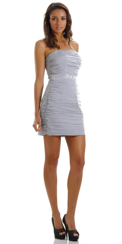 ON SPECIAL LIMITED STOCK - Ruched Strapless Straight Neckline Gray Bodycon Dress