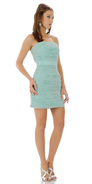 ON SPECIAL LIMITED STOCK - Ruched Strapless Straight Neckline Mint Bodycon Dress
