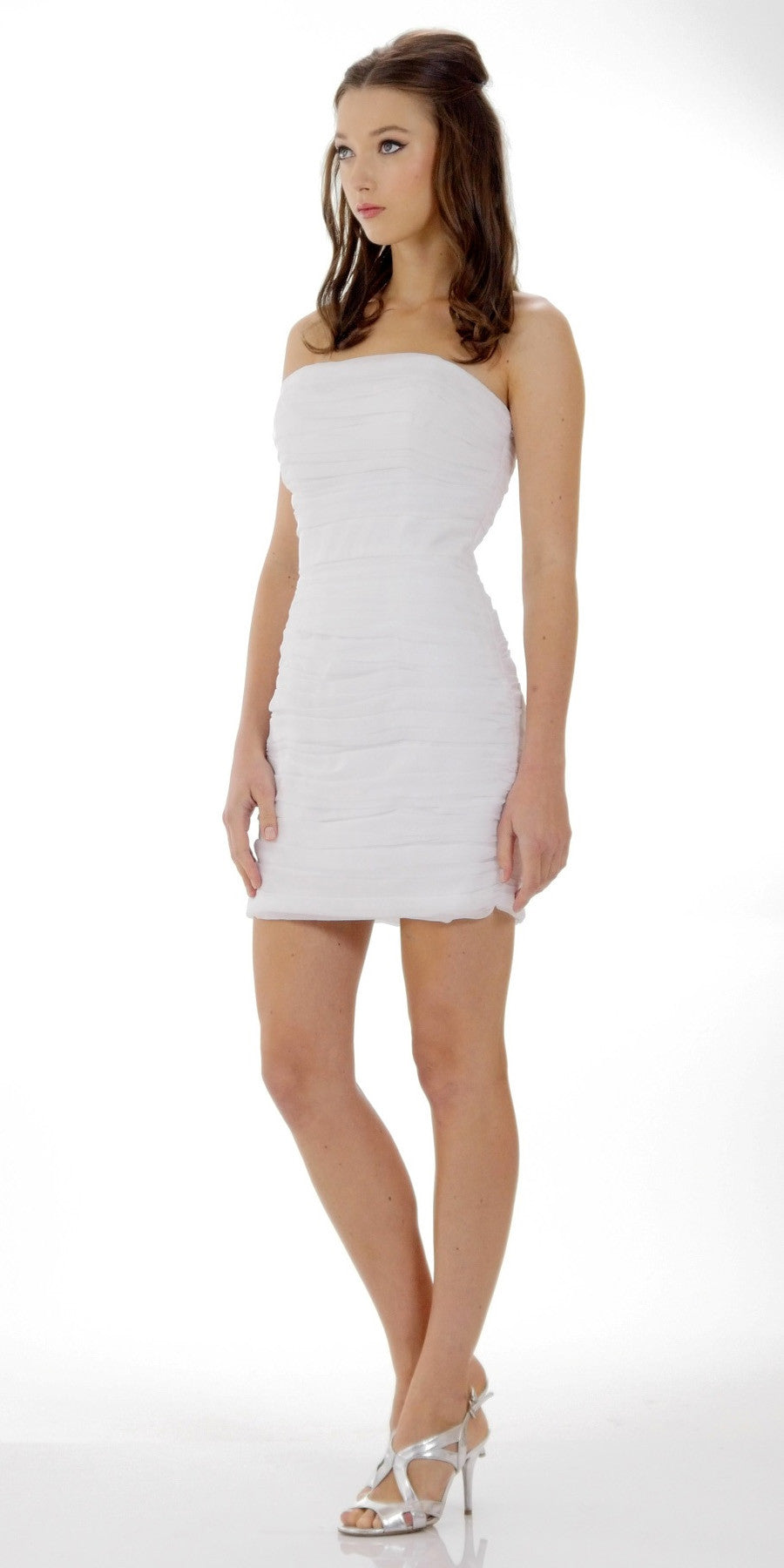 6d2e1a82e36 ... Ruched Strapless Straight Neckline White Bodycon Dress. Tap to expand