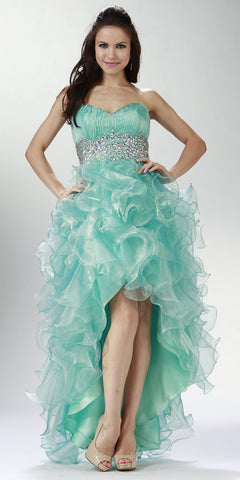 ON SPECIAL LIMITED STOCK - Ruffled High Low Skirt Ruched Bodice Aqua Prom Dress