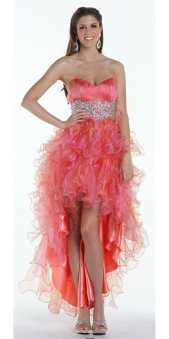 ON SPECIAL LIMITED STOCK - Ruffled High Low Skirt Ruched Bodice Coral Prom Dress
