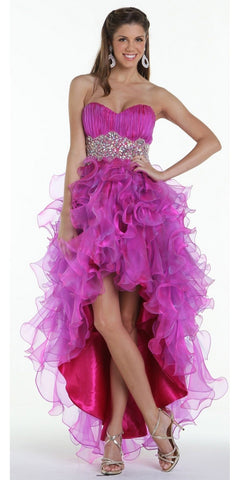 ON SPECIAL LIMITED STOCK - Ruffled High Low Skirt Ruched Bodice Fuchsia Prom Dress