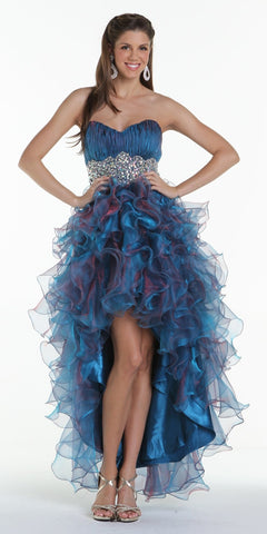 ON SPECIAL LIMITED STOCK - Ruffled High Low Skirt Ruched Bodice Teal Blue Prom Dress