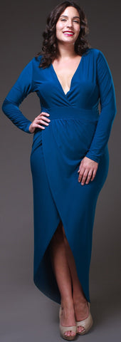 Sexy High Low Teal Blue Maxi Dress Deep Surplice Neck Long Sleeves