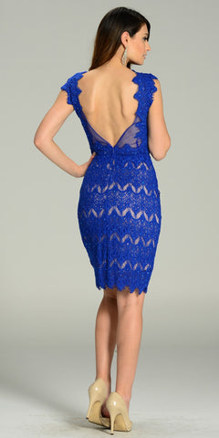 Sexy Sheer Neckline Royal Blue Nude Lace Knee Length Dress