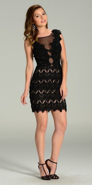 Sexy Sheer Neckline Black Nude Lace Knee Length Dress