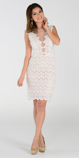 Sexy Sheer Neckline Off White Nude Lace Knee Length Dress