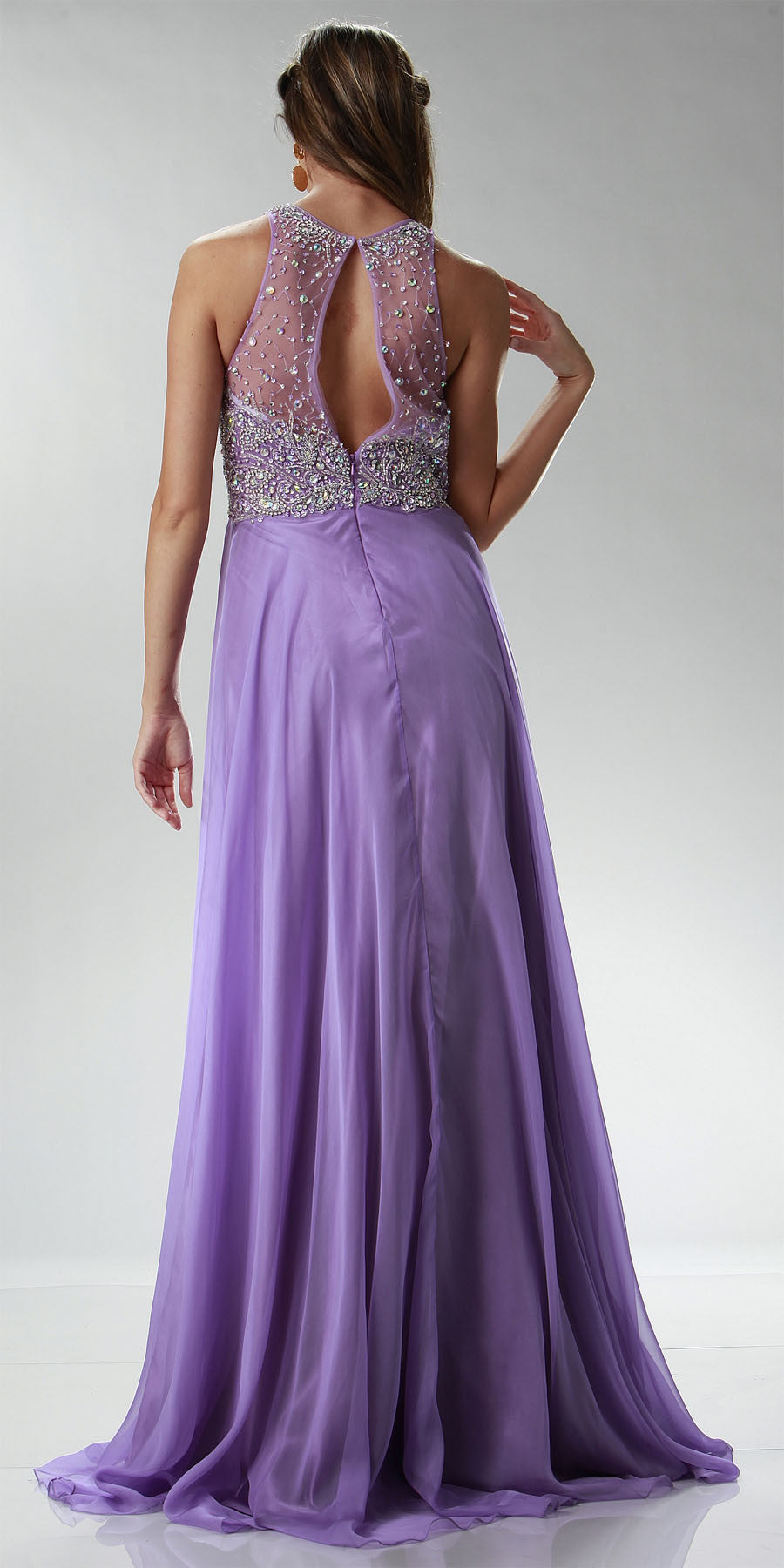 ON SPECIAL LIMITED STOCK - Sheer Halter Neckline Long A Line Lilac Prom Dress