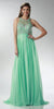 ON SPECIAL LIMITED STOCK - Sheer Halter Neckline Long A Line Mint Green Prom Dress