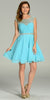 Short A Line Chiffon Dress Aqua Ruched Bodice Pearls/Rhinestones