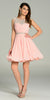 Short A Line Chiffon Dress Blush Ruched Bodice Pearls/Rhinestones