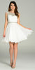 Short A Line Chiffon Dress Off White Ruched Bodice Pearls/Rhinestones