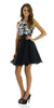 Short A Line Chiffon Mesh Black Dress Lace Appliques