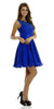 Short A Line Chiffon Mesh Royal Blue Dress Lace Appliques