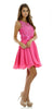 Short A Line Chiffon Mesh Fuchsia Dress Lace Appliques