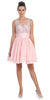 Starbox USA 6054 Short Bateau Neck Pink Dress Chiffon A Line Illusion