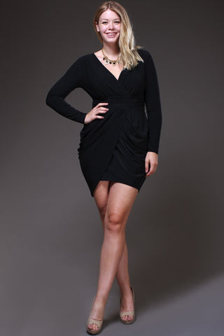 Short Black Sheath Mini Dress V Neckline Long Sleeves