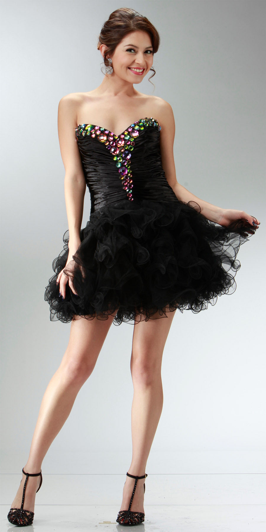ON SPECIAL LIMITED STOCK - Short Black Winter Formal Dress Poofy Layer Skirt Ruffles Strapless