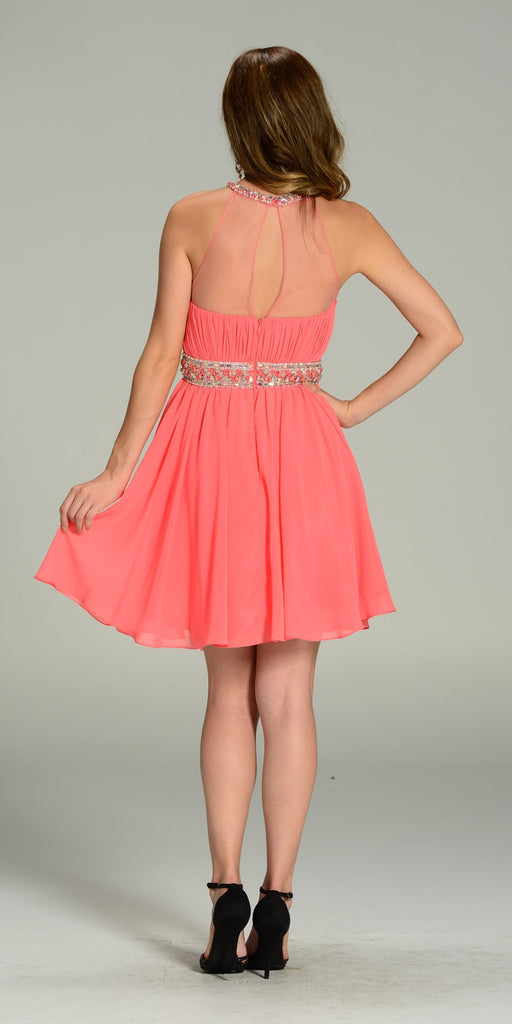 Short Chiffon A Line Dress Coral Beaded Halter Neck Sheer Back