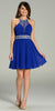 Short Chiffon A Line Dress Royal Blue Beaded Halter Neck Sheer Back