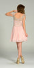 Short Chiffon/Mesh Cap Sleeve Dress Blush Empire Waist