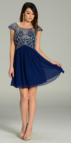 Short Chiffon/Mesh Cap Sleeve Dress Navy Blue Empire Waist