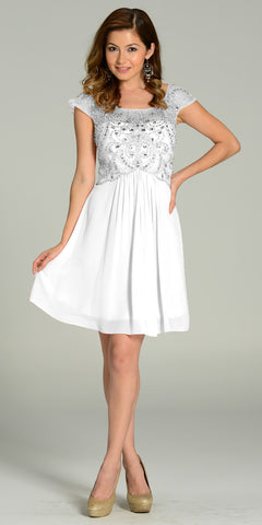 Short Chiffon/Mesh Cap Sleeve Dress White Empire Waist