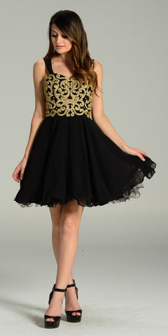 Short Chiffon Spanish Style Off The Shoulder Dress Black Gold