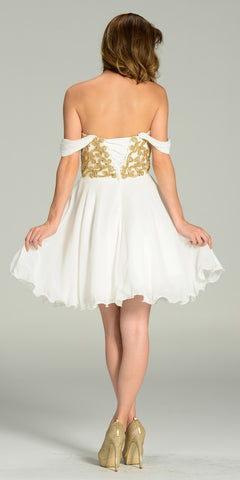 Short Chiffon Spanish Style Off The Shoulder Dress Ivory Gold